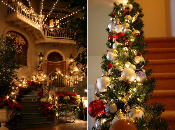 Christmas staircase decorations christmas fashion for Stair railing decorated for christmas